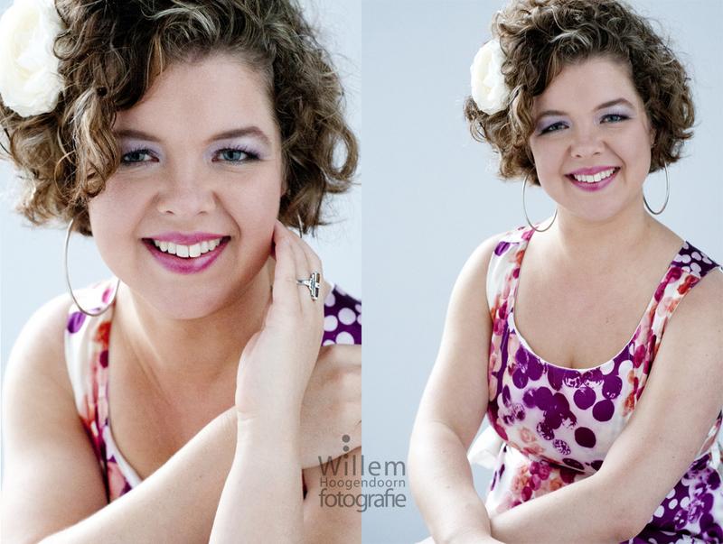 glamourfotografie kleurig jurkje pose zitten Willem Hoogendoorn Fotografie Woerden